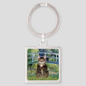 Bridge - Tabby Tiger cat 30 Square Keychain