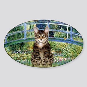 Bridge - Tabby Tiger cat 30 Sticker (Oval)