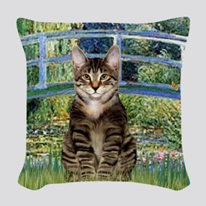 Bridge - Tabby Tiger cat 30 Woven Throw Pillow