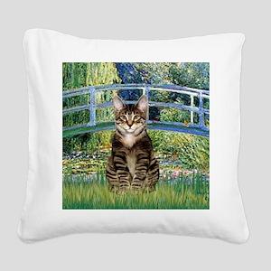 Bridge - Tabby Tiger cat 30 Square Canvas Pillow