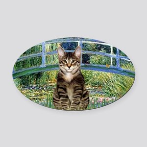 Bridge - Tabby Tiger cat 30 Oval Car Magnet