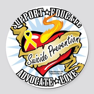 Suicide-Prevention-Classic-Heart Round Car Magnet