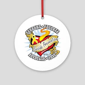 Suicide-Prevention-Classic-Heart Round Ornament