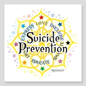 "Suicide-Prevention-Lotus Square Car Magnet 3"" x 3"""