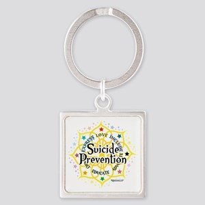 Suicide-Prevention-Lotus Square Keychain