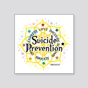 "Suicide-Prevention-Lotus Square Sticker 3"" x 3"""