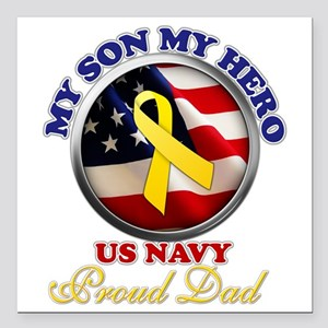 "prouddad_navy Square Car Magnet 3"" x 3"""