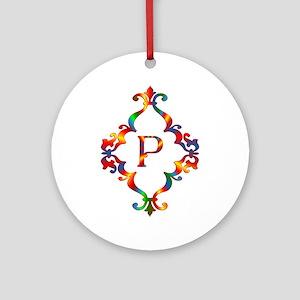 Colorful Letter P Monogram Initial Round Ornament