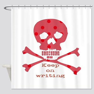 Keep on writing - red Shower Curtain