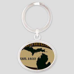 Michigan Est 1837 Oval Keychain