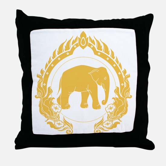 Thai-elephant-gold Throw Pillow