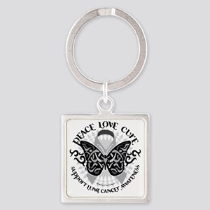 Lung-Cancer-Butterfly-Tribal Square Keychain