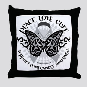 Lung-Cancer-Butterfly-Tribal Throw Pillow