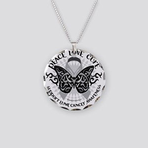 Lung-Cancer-Butterfly-Tribal Necklace Circle Charm