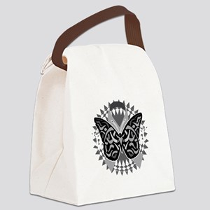 Lung-Cancer-Butterfly-Tribal-blk Canvas Lunch Bag