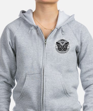Lung-Cancer-Butterfly-Tribal-bl Zip Hoodie