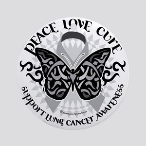 Lung-Cancer-Butterfly-Tribal Round Ornament