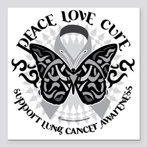 "Lung-Cancer-Butterfly-Tr Square Car Magnet 3"" x 3"""