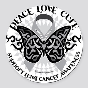Lung-Cancer-Butterfly-Tribal Round Car Magnet