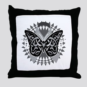 Lung-Cancer-Butterfly-Tribal-blk Throw Pillow