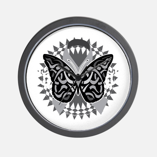 Lung-Cancer-Butterfly-Tribal-blk Wall Clock