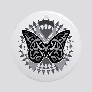 Lung-Cancer-Butterfly-Tribal-blk Round Ornament