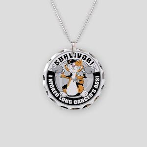 Lung-Cancer-Cat-Survivor Necklace Circle Charm