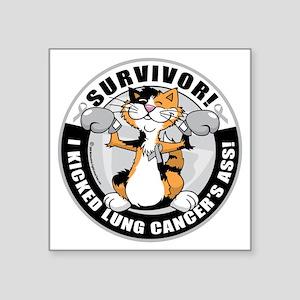 "Lung-Cancer-Cat-Survivor Square Sticker 3"" x 3"""
