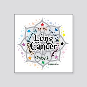 """Lung-Cancer-Lotus Square Sticker 3"""" x 3"""""""