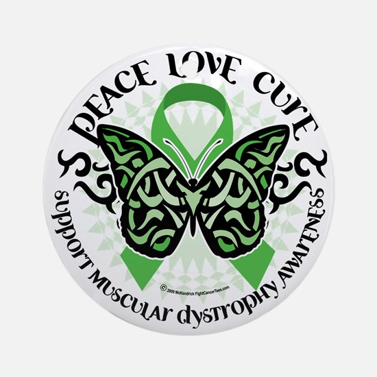 Muscular-Dystrophy-Butterfly-Tribal Round Ornament