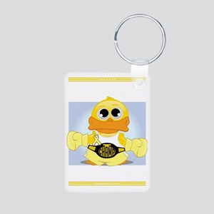 Knock-Out-Spina-Bifida-blk Aluminum Photo Keychain