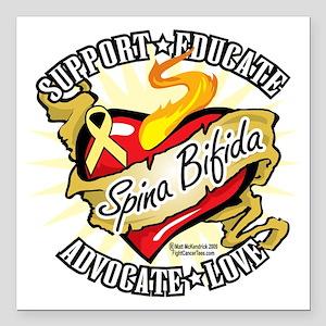 """Spina-Bifida-Classic-Hea Square Car Magnet 3"""" x 3"""""""