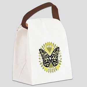 Spina-Bifida-Tribal-Butterfly-blk Canvas Lunch Bag