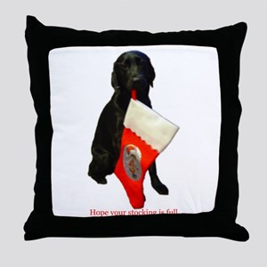 lab with stocking Throw Pillow