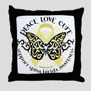 Spina-Bifida-Tribal-Butterfly Throw Pillow