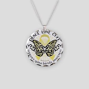 Spina-Bifida-Tribal-Butterfl Necklace Circle Charm