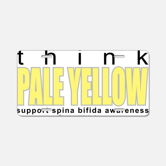 think-PALE-YELLOW-Spina-Bif Aluminum License Plate