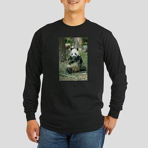 Panda Eating Long Sleeve Dark T-Shirt
