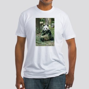 Panda Eating Fitted T-Shirt