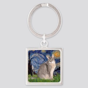 T-Starry Night - Abyssinian (blue  Square Keychain