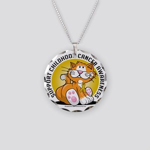 Childhood-Cancer-Cat Necklace Circle Charm