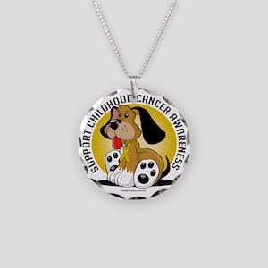 Childhood-Cancer-Dog Necklace Circle Charm