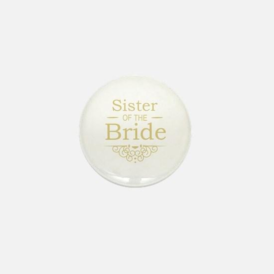 Sister of the Bride Gold Mini Button