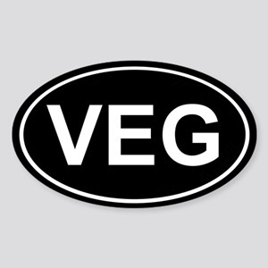 Veg Sticker Black (Oval)