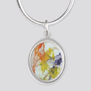 Pennys painting dancers Silver Oval Necklace