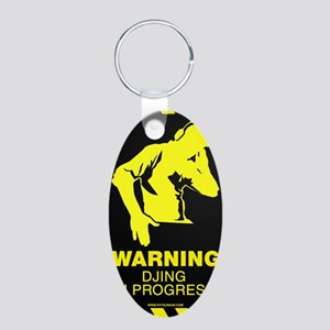 Warning DJing in Progress Aluminum Oval Keychain