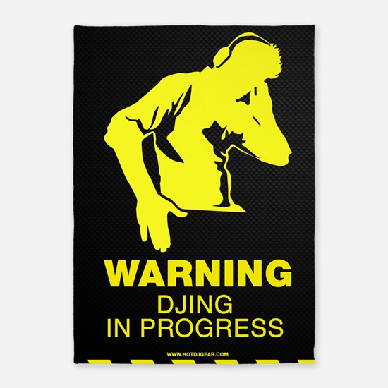 Warning DJing in Progress 5'x7'Area Rug