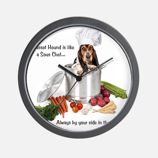 Basset Hound Sous Chef Wall Clock