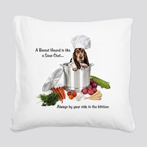 Basset Hound Sous Chef Square Canvas Pillow
