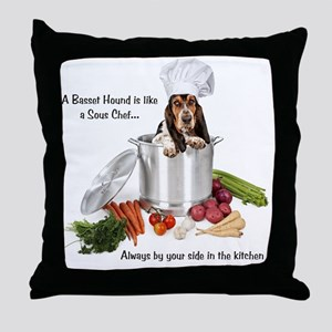 Basset Hound Sous Chef Throw Pillow